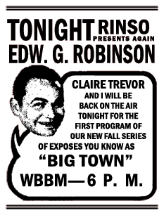 Spot ad for the premiere of the 2nd Fall Season of Big Town on September 20th 1938