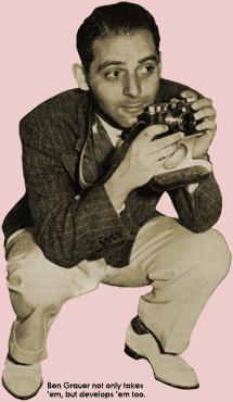 Caption: Ben Grauer not only takes 'em but develops 'em (1938)