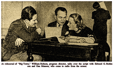 Director William N. Robson discusses a script during a rehearsal with Eddie Robinson and Ona Munson (from The New York Times of March 3rd 1940)