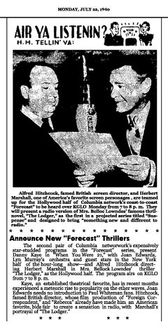 Article announcing the second set of CBS Forecast programs of Season One, dated July 22, 1940