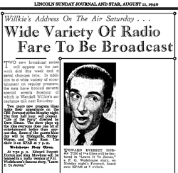 Article promoting Week Five of CBS Forecast's first season, with Leave It To Jeeves as the focus, Aug. 11, 1940