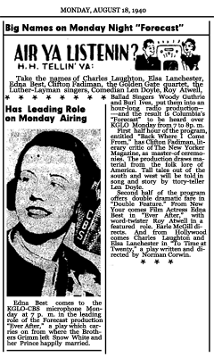Article promoting Week Six of CBS Forecast's first season, with Back Where I Come From and a Dramatic Double Feature, Aug. 18, 1940