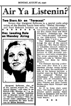 Article promoting Week Seven of CBS Forecast's first season, with Bethel Merriday and All God's Children, Aug. 25, 1940