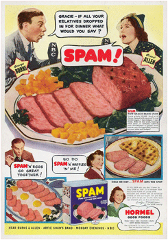 Hormel Spam ad featuring George Burns and Gracie Allen from November 1st 1940