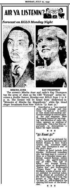 Article announcing Week Two of the second CBS Forecast series with 51 East 51 and Mischa The Magni- ficent, dated July 21, 1941