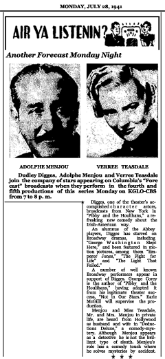 Article announcing Week Three of the second CBS Forecast series with Pibby and The Houlihans and Deductions Deluxe, dated July 28, 1941