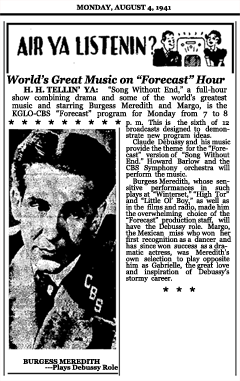 Article announcing Week Four of the second CBS Forecast series with Song Without End, the story of Claude Debussy, dated August 4, 1941