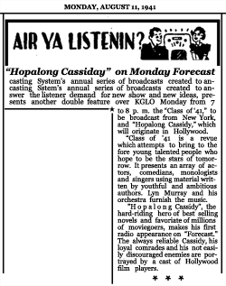 Article announcing Week Five of the second CBS Forecast series with Class of '41 and Hopalong Cassiday [sic], dated August 11, 1941
