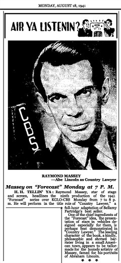 Article announcing Week Six of the second CBS Forecast series with Country Lawyer, arguably the finest preview by CBS of the entire two Season run of Forecast, dated August 18, 1941