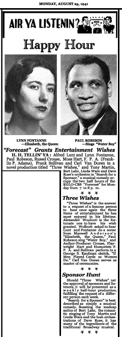 Article announcing Week Seven of the second CBS Forecast series with Three Wishes and Search for A Sponsor, dated August 25, 1941