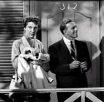 Elvia Allman as Jane Adams appears with George Burns in The Burns and Allen Program (1952)