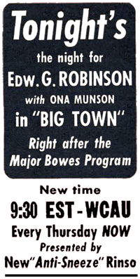 Movie-Radio Guide spot ad for a 1942 Big Town schedule change.