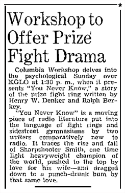 The CBS-owned Mason City Globe-Gazette article on the CBS-announced prize fight drama,'You Never Know' from February 28 1942