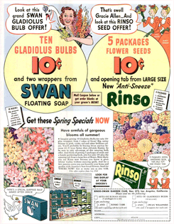 During 1942 Swan was offering a promotion of ten Gladiolus bulbs, one of which was named after Gracie Allen herself.