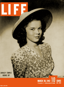 'Shirley Temple Grows Up' on the cover of the March 30th 1942 LIFE magazine.