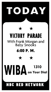 Spot ad announcing the June 7 1942 premiere of the Office of Facts and Figures Victory Parade over NBC