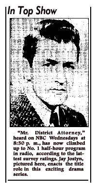 One of Wisconsin's favorite sons Jay Jostyn in article about his long-running appearance in Mr. District Attorney from 1942