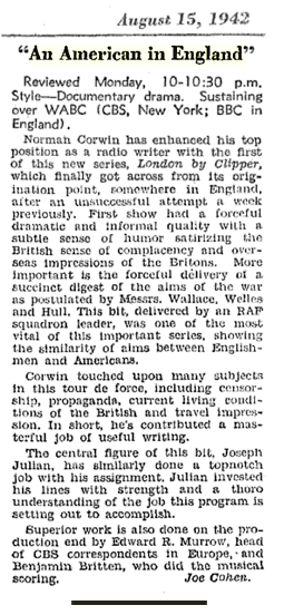 Billboard review of the first fully successful airing of An American In England from August 15 1942