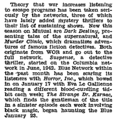 The Billboard and many other Radio critics of the era viewed the War Years' many thrillers and horror dramas as escapist entertainment from the rigors of the World War II homefront