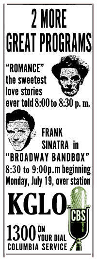 July 19th 1943 spot ad for Romance over KGLO
