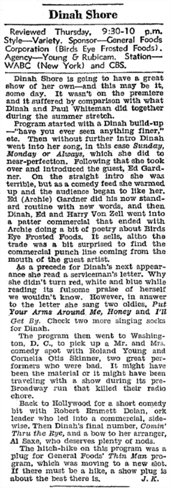 The Billboard's somewhat mixed review of the premiere of The Dinah Shore Program for Birds Eye Frosted Foods (October 16th 1943)