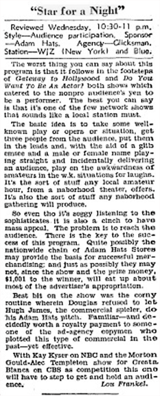 The Billboard review of the Star for A Night