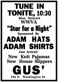 Adam Hats spot ad for 'Star for A Night' from January 12th 1944