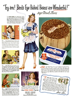Birds Eye Frosted Foods spared no expense promoting Dinah Shore in the print media of the era (LIFE ad from October 23rd 1944)