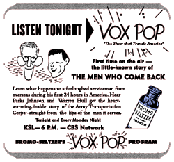 Vox Pop Spot Ad from December 11 1944