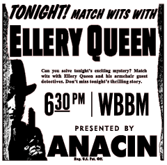 Anacin spot ad for Ellery Queen over WBBM (Chicago) from January 31 1945