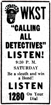 April 21st 1945 spot ad for Calling All Detectives