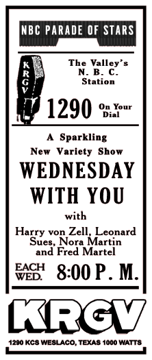 Spot ad for the premiere of Wednesday with You from June 27th 1945