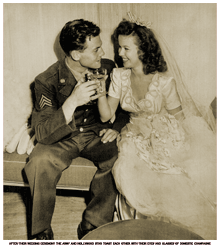Sgt. John Agar and Shirley Temple share glasses of domestic champagne at their wedding.