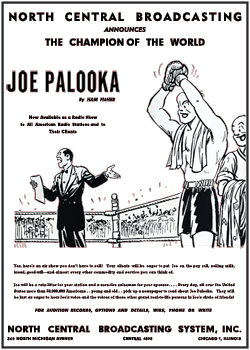 Billboard's October 6 1945 North Central Broadcasting promotion of the 1945 and 1946 syndications of The Story of Joe Palooka