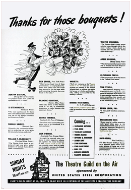 Billboard magazine broadside of reviews from the premiere of Theatre Guild On the Air from October 27 1945