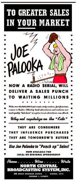 January 26 1946 North Central Broadcasting spot ad promoting the 1945 and 1946 syndications of The Story of Joe Palooka