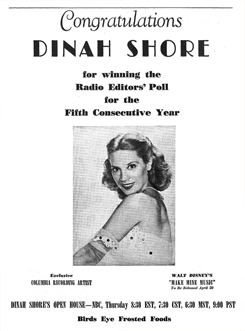 The Billboard congratulates Dinah Shore upon winning the Radio Editors' Poll for the fifth consecutive year (from March 23rd 1946)