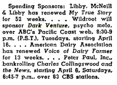 Billboard magazine news item of April 6 1946 citing Wildroot's intent to sponsor Dark Venture.