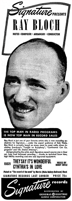 Continental Celebrity Club's music director Ray Bloch wasted no time capitalizing on the premature demise of the series. Witness this promo from July 6th 1946 just a week after the Continental Celebrity Club had folded.