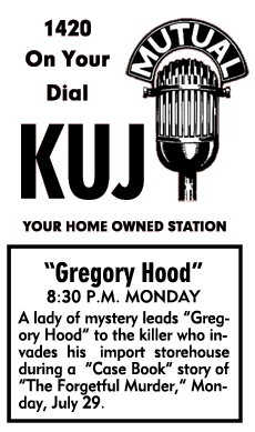 Spot ad for The Case Book of Gregory Hood from July 29 1946