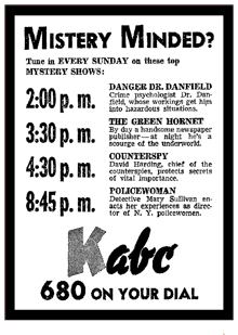 KABC spot ad promoting Danger Dr. Danfield from October 27th 1946 (and yes, it does say 'Mistery')