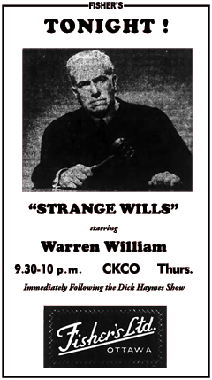 Ottawa spot ad for Strange Wills from October 31st 1946