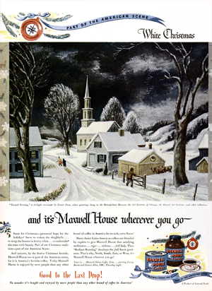 Ernest Fiene's 'Toward Evening' was the illustration referred to in the December 19th 1946 episode of Maxwell House Coffee Time