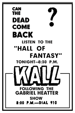 KALL spot ad for The Hall of Fantasy from January 19 1947