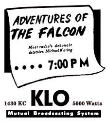 KLO spot ad for The Adventures of The Falcon from 1947