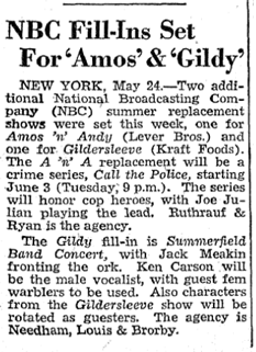 The Billboard first announced Call the Police as a Summer replacement for Amos 'n' Andy on May 31st 1947