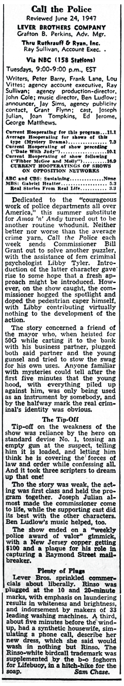 1947 Billboard Review of the first Summer Season of Call for the Police