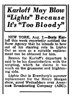 The 'brief TV run' referred to in the first article above was the ABC Television production of 'Lights Out,' as described in this article from the Billboard of August 9th 1947.