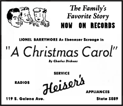 M-G-M first recorded Lionel Barrymore's performance of 'A Christmas Carol' in 1947 as 'M-G-M 16A'--a four-record, eight-side set. This set was the basis for all of the Mutual Broadcasting System repeat broadcasts of Lionel Barrymore's rendition of A Christmas Carol through the 1950s.