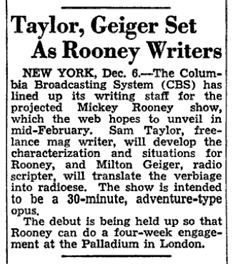 The Billboard of December 13th 1947 teases a Mickey Rooney dramatic vehicle slated for mid-February 1948
